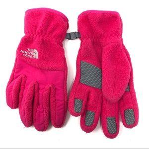 The North Face Girls Pink Fleece Winter Gloves